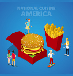 isometric usa national cuisine with fast food vector image
