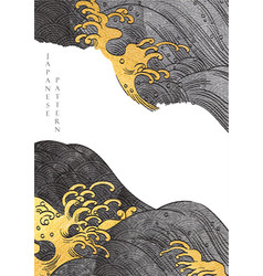 Japanese background with gold texture hand drawn vector