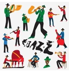 jazz musicians - cartoons set vector image vector image