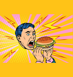 man eating burger vector image