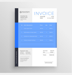 Modern blue invoice template design vector