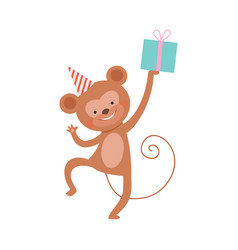 Monkey with a gift on a white vector