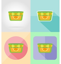 Objects for recreation a beach flat icons 15 vector