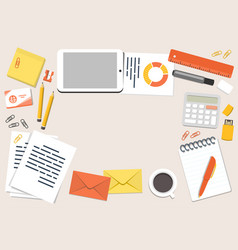 office desk and stationary in flat style top view vector image