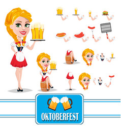Oktoberfest sexy redhead girl character creation vector
