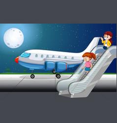 Paassengers getting off plane vector