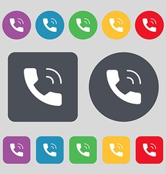 Phone icon sign A set of 12 colored buttons Flat vector