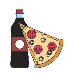 Pizza and soda bottle vector