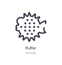 Puffer outline icon isolated line from animals vector