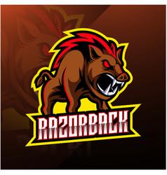 Razorback sport mascot logo design vector