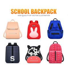 Realistic school bags background vector