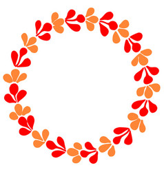 Red and orange autumn wreath isolated on white vector