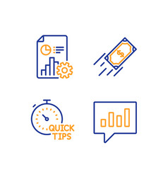 Report quick tips and fast payment icons set vector