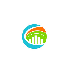 round cityscape environment business logo vector image