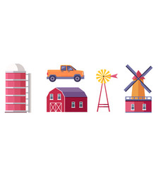 rural farm flat buildings and elements set vector image