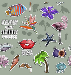 seamless pattern with animals and flowers sticker vector image