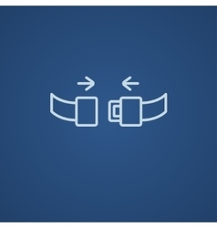 Seat belt line icon vector image