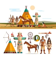 set american indian tribal objects vector image