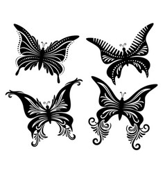 set butterflies black pictograms vector image