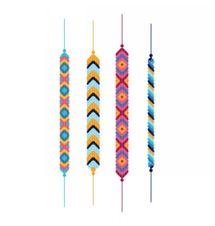 Set of multicolor friendship hippy bracelets vector