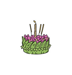 small loy krathong basket with green leaves pink vector image