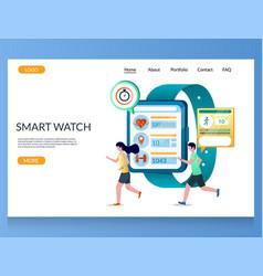 Smart watch website landing page design vector