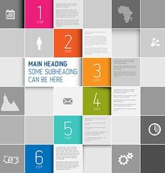 Squares background design steps template vector