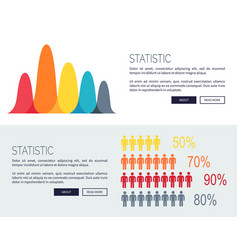 statistic charts with growing diagrams and people vector image