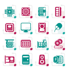 Stylized computer performance and equipment icons vector