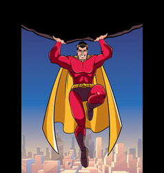 Superhero holding boulder above city vector