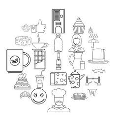 tea icons set outline style vector image