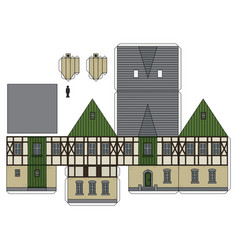 The paper model of a vintage house vector
