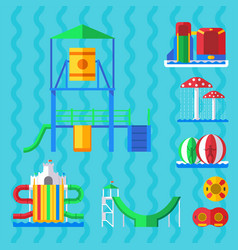 water aquapark playground with slides and splash vector image