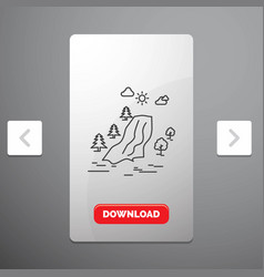 Waterfall tree pain clouds nature line icon in vector
