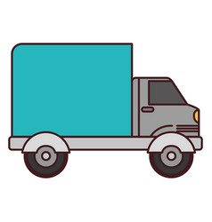 White background with truck with wagon and black vector