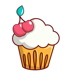 white cupcake with cherries icon cartoon style vector image