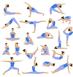 Yoga set icons vector