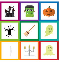 flat icon celebrate set of monster spirit vector image vector image