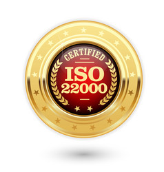 Iso 22000 certified medal - food safety management vector