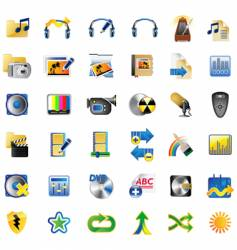 set of multimedia internet icons vector image vector image