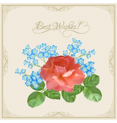 Vintage postcard with flowers decorative frame vector image