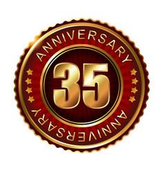 35 years anniversary golden label vector image vector image