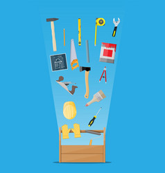 carpentry instruments in wooden toolbox vector image vector image