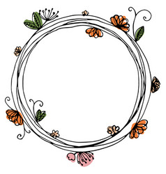 design of wreath with flowers and butterfly vector image