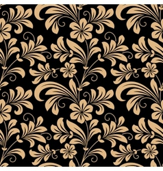 Floral seamless pattern with gold flowers vector image vector image