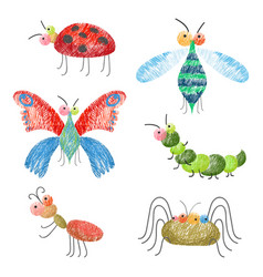 set of funny colorful bugs on vector image