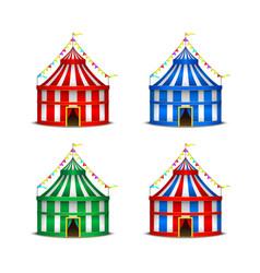 striped circus tent symbol amusement festival or vector image