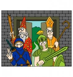 warrior ninja wizard priest vector image