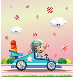 A female racer surrounded with candy balls vector