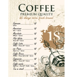 coffee list vector image vector image